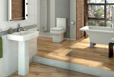 Cassia 4 Piece Set. Basin with Full Pedestal and WC with Soft Close Seat