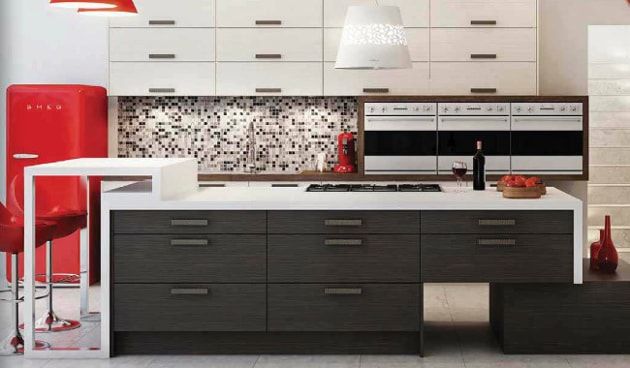 Modern kitchen with hob, oven and fridge appliances