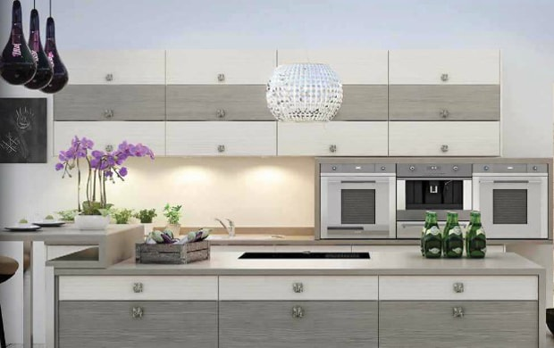 Ambient and task lighting in a modern kitchen