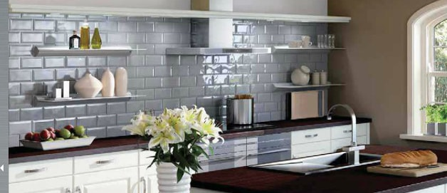 Kitchen with ceramic wall tiling