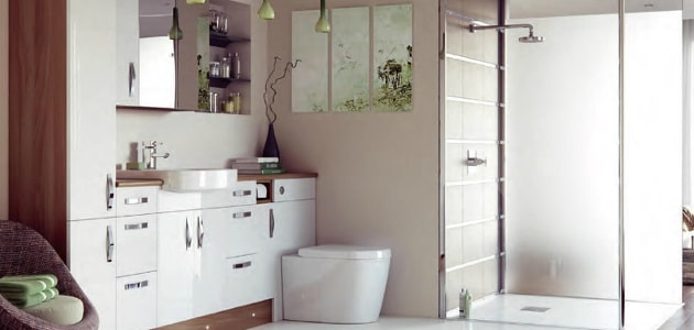 Bathroom suite with corner shower