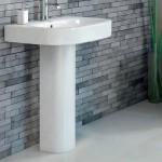 White stone bathroom tiles with brick wall tiles