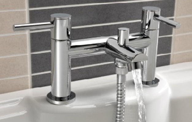 dual bath tub tap with shower fixture