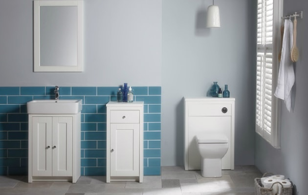 simple bathroom suite with wooden furniture