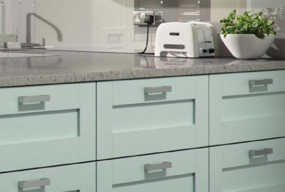 small kitchen with minimal hardware