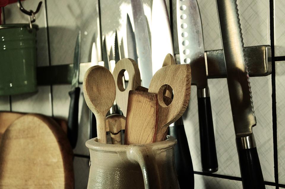 Kitchen utensils hanging on the walls