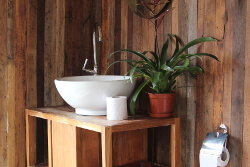 wooden panelling bathroom