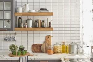 Wooden floating shelves in kitchen