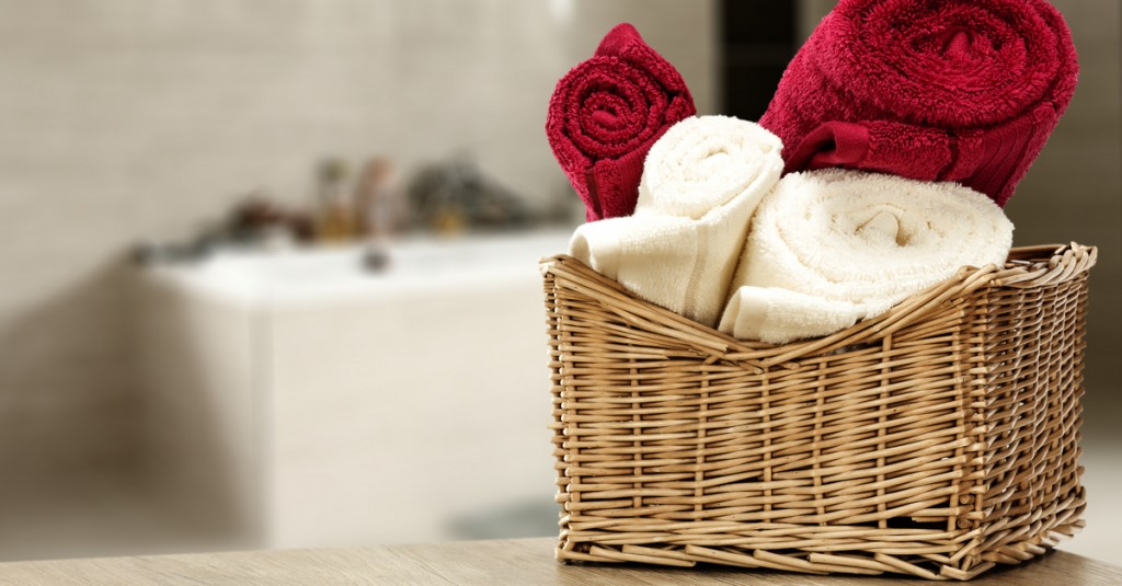 Storage baskets for small bathrooms and towels