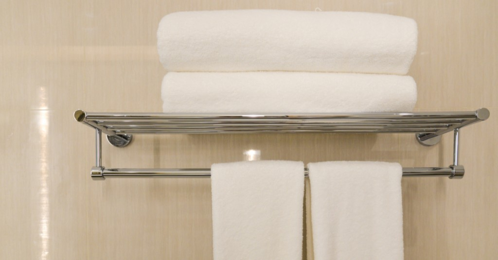 Towel rails should go over the bath in small bathrooms