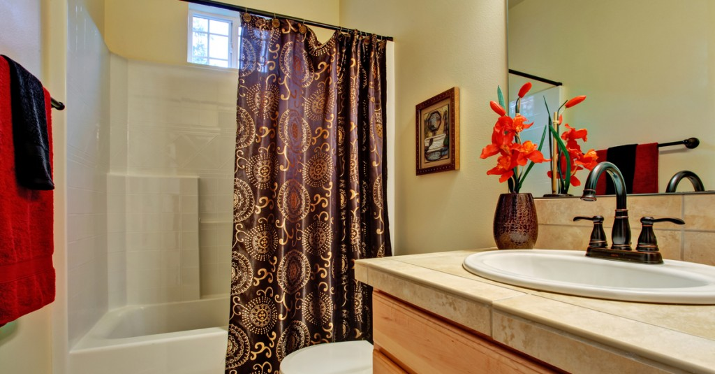 Textures and patterns add character to small bathrooms.