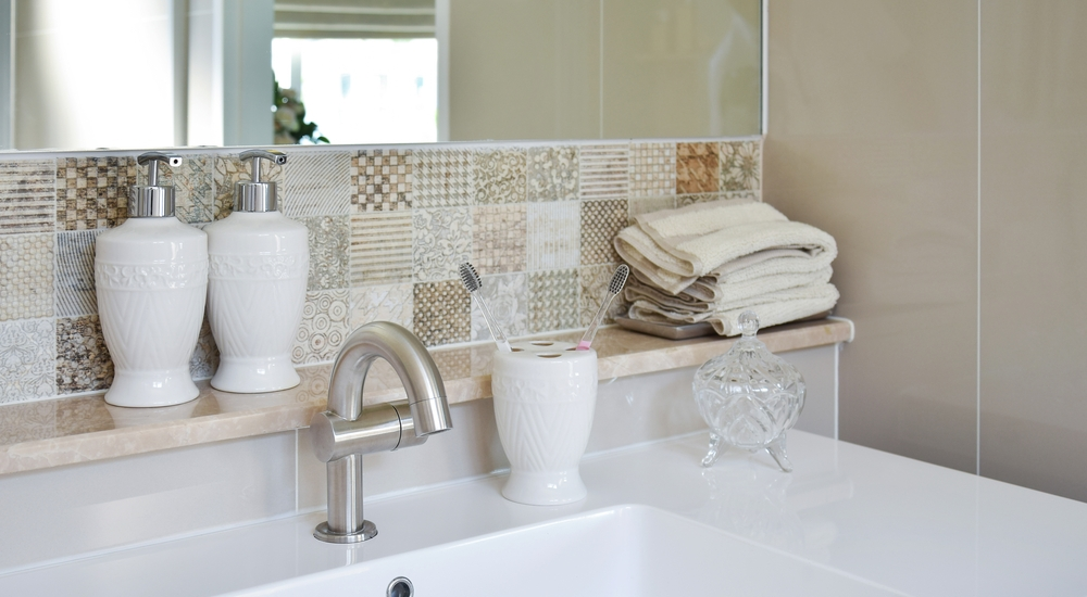Featured pattern tiles in bathroom
