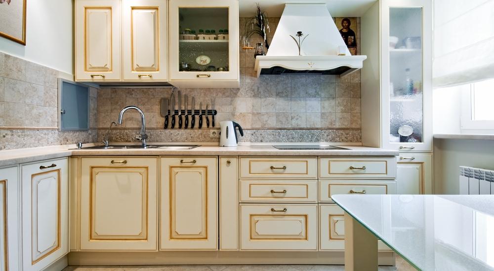 Stone tiles in kitchen