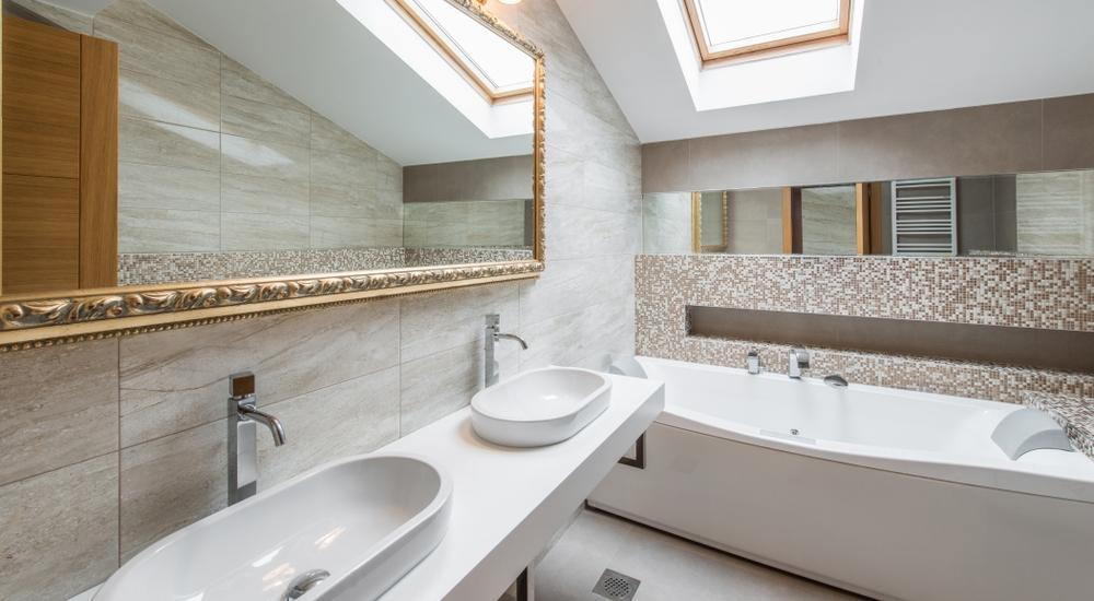Textured bathroom tiles